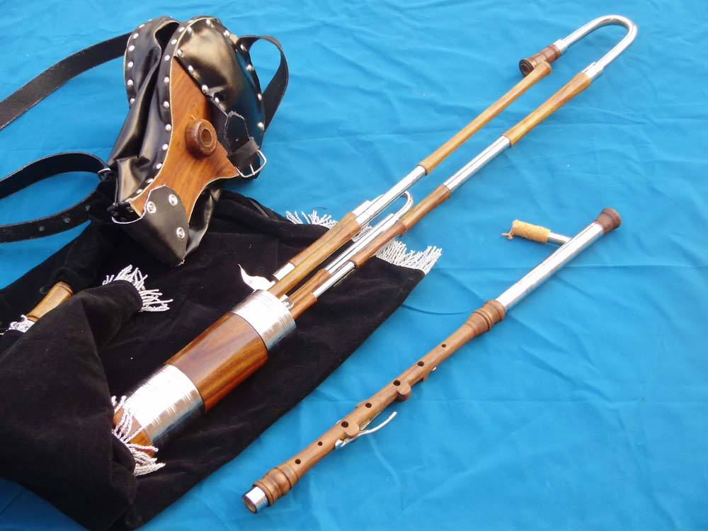 Picture of bagpipes - Uillean Irish Pipe Half Set Rosewood with bellows