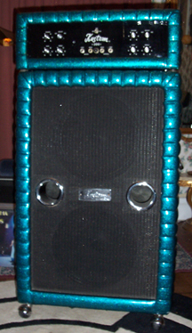 Picture of amplifier - 1970 Kustom Bass Amp Head & Cabinet 200W Sparkle Blue VG Cond.