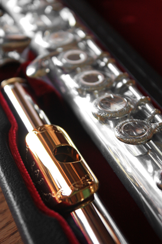 Picture of flute - Jupiter Semi-Professional Solid Silver Flute w/ GOLD -BRAND NEW!