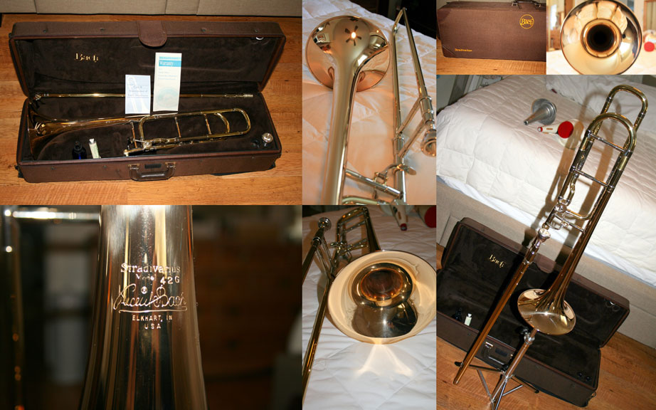 Picture of trombone - Bach 42G tenor, excellent condition, rose brass bell, mouthpiece, original case